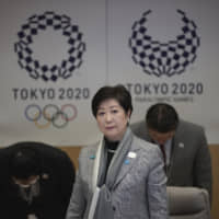 Tokyo Gov. Yuriko Koike wraps up a meeting on COVID-19 prevention measures at the Tokyo Metropolitan Government building on Monday. | RYUSEI TAKAHASHI