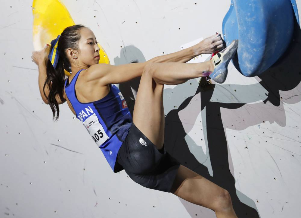 Sports climber Akiyo Noguchi is trying to take a positive approach to the announcement that the Tookyo Olympics will be postponed. | KYODO