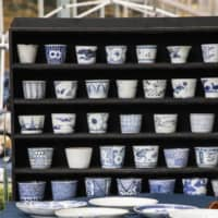 Blue and white: At the Oedo Antique Market, Masayuki Fukuda, owner of an antique shop in Nikko, Tochigi Prefecture, specializes in top-quality Ko-Imari and Ko-Kutani ceramic ware.