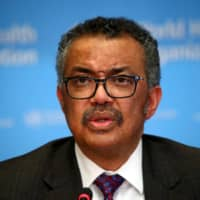 World Health Organization chief Tedros Adhanom Ghebreyesus speaks at a news conference in Geneva on Feb. 28. | REUTERS