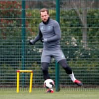 Tottenham's Harry Kane practices at the club's training facility in London on March 9. | REUTERS