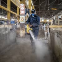 A municipal worker sprays disinfectant in the Grand Market of Dakar, Senegal, in an attempt to halt the spread of the new coronavirus on Monday.   AP