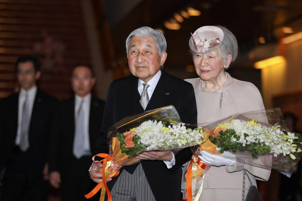 Emperor Emeritus Akihito and Empress Emerita Michiko depart after attending the ceremony commemorating the 30th anniversary of the Emperor's reign, at the National Theatre of Japan in Tokyo, on Feb. 24, 2019. | POOL / VIA BLOOMBERG