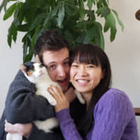 Three's company: Morgan Ruler and Shiori Hamasako are delighted to have Leggy, a three-legged cat with a lot of personality, in their home. | COURTESY OF MORGAN RULER AND SHIORI HAMASAKO