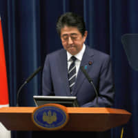 Prime Minister Shinzo Abe holds a news conference on the COVID-19 outbreak at the Prime Minister's Office in Tokyo on Saturday. | REUTERS
