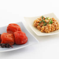 Health kick: Umeboshi (pickled plums, front) have a salty-sour flavor that's often an acquired taste. Mineral-rich nattō (fermented soybeans) help promote the growth of probiotics. | MAKIKO ITOH
