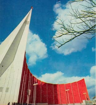 The futuristic Soviet Pavilion was the tallest at the 1970 OSaka Expo.   THE JAPAN TIMES