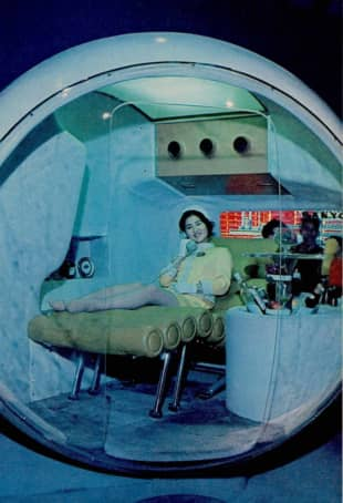 A 'capsule room' for personal use was exhibited at the Sanyo Pavilion during the 1970 world fair in Osaka.   THE JAPAN TIMES
