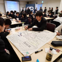 Students prepare materials to present their ideas for new products and services to several of Japan's major companies. | YOSHIAKI MIURA