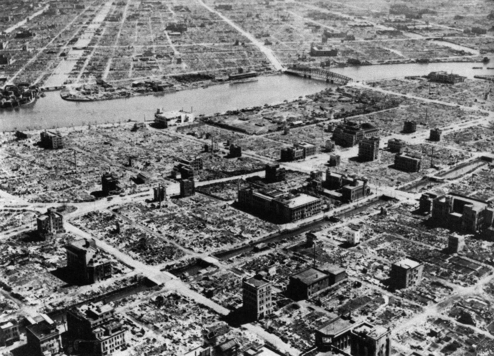 A residential section of Tokyo is seen destroyed following Operation Meetinghouse, the firebombing of Tokyo on the night of March 9-10, 1945. | U.S. ARMY
