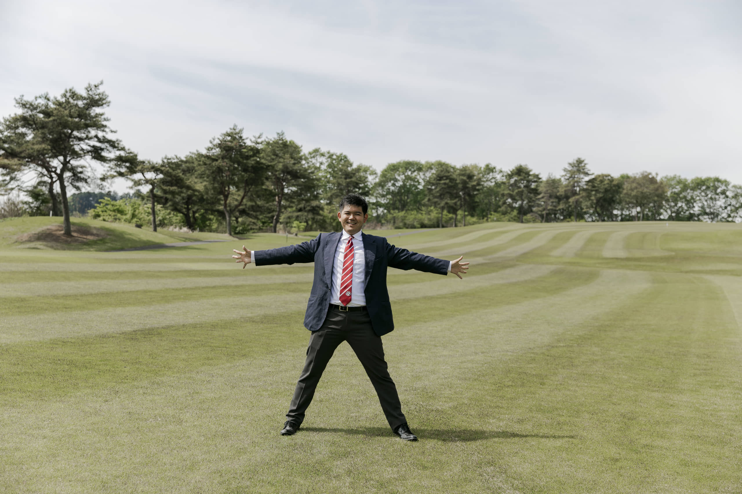Tadashi Kobayashi, president of the Seven Hundred Club, shows off its footgolf course in the city of Sakura, Tochigi Prefecture, which is set to host the Footgolf World Cup this autumn. | THE SEVEN HUNDRED CLUB