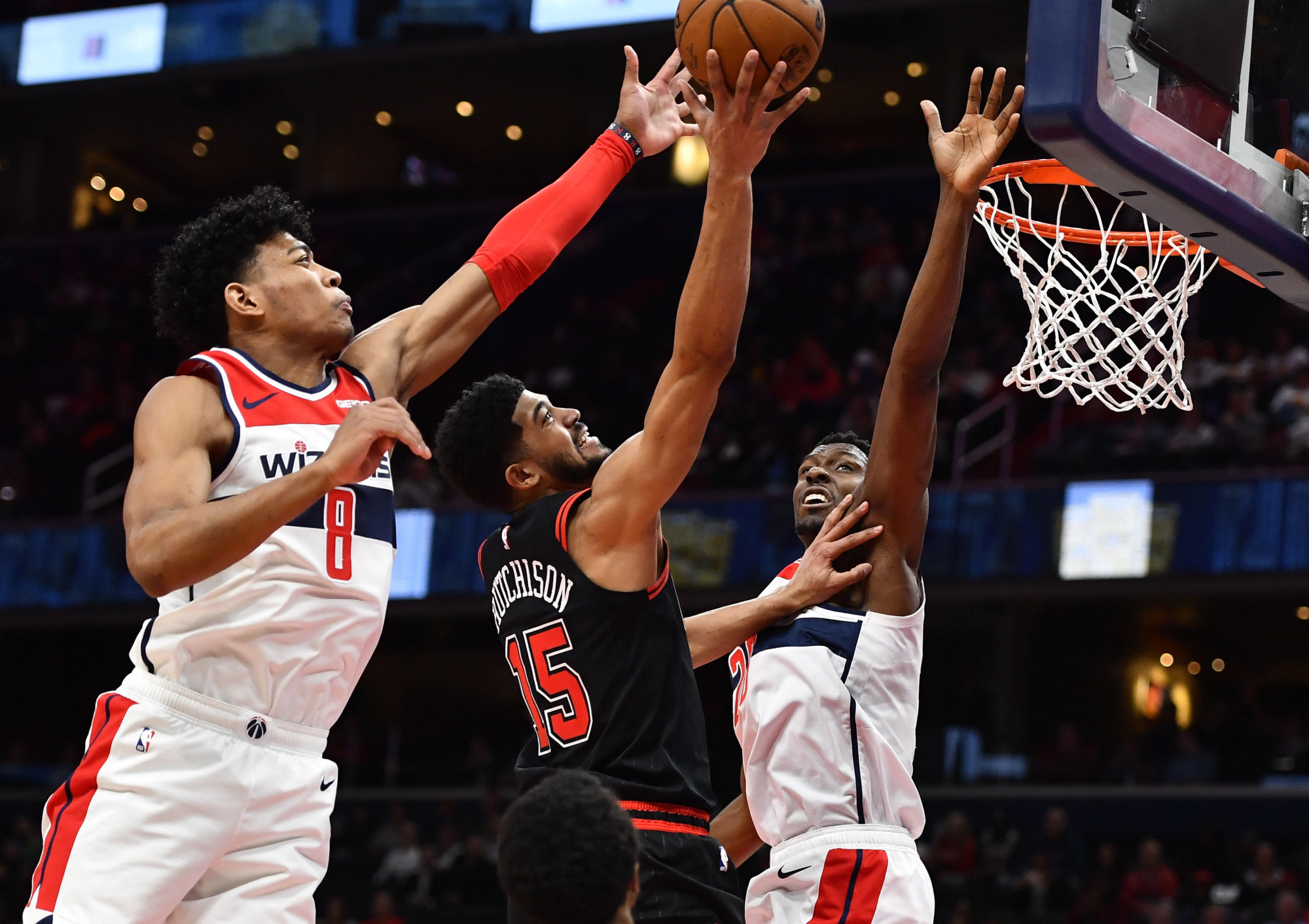 Wizards rookie forward Rui Hachimura, blocking a shot by the Bulls' Chandler Hutchison on Feb. 11, is a hard-working player at both ends of the floor. | USA TODAY / VIA REUTERS
