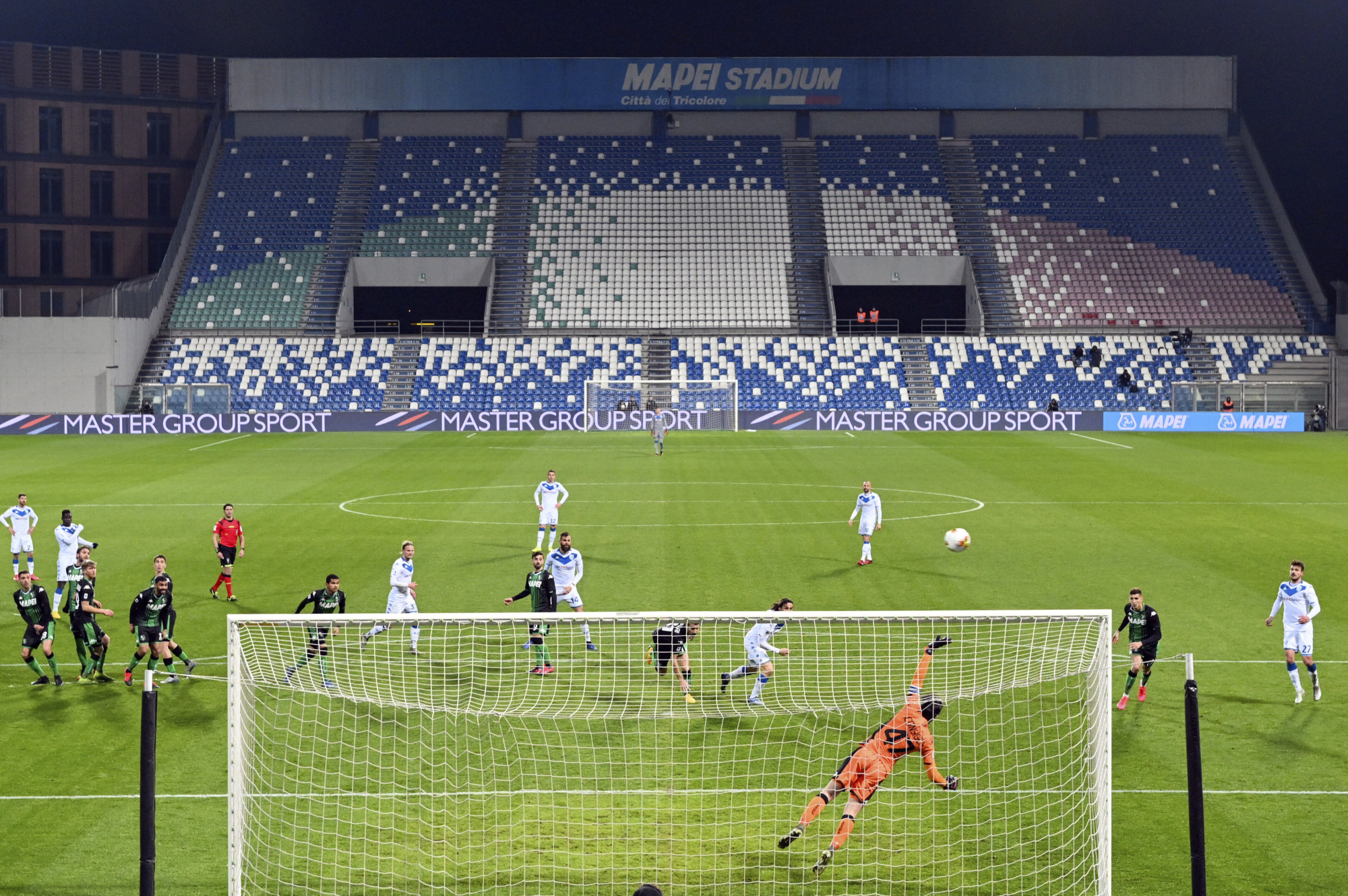 Serie A rivals Sassuolo and Brescia play behind closed doors on Monday at Mapei Stadium in Reggio Emilia, Italy. | AP