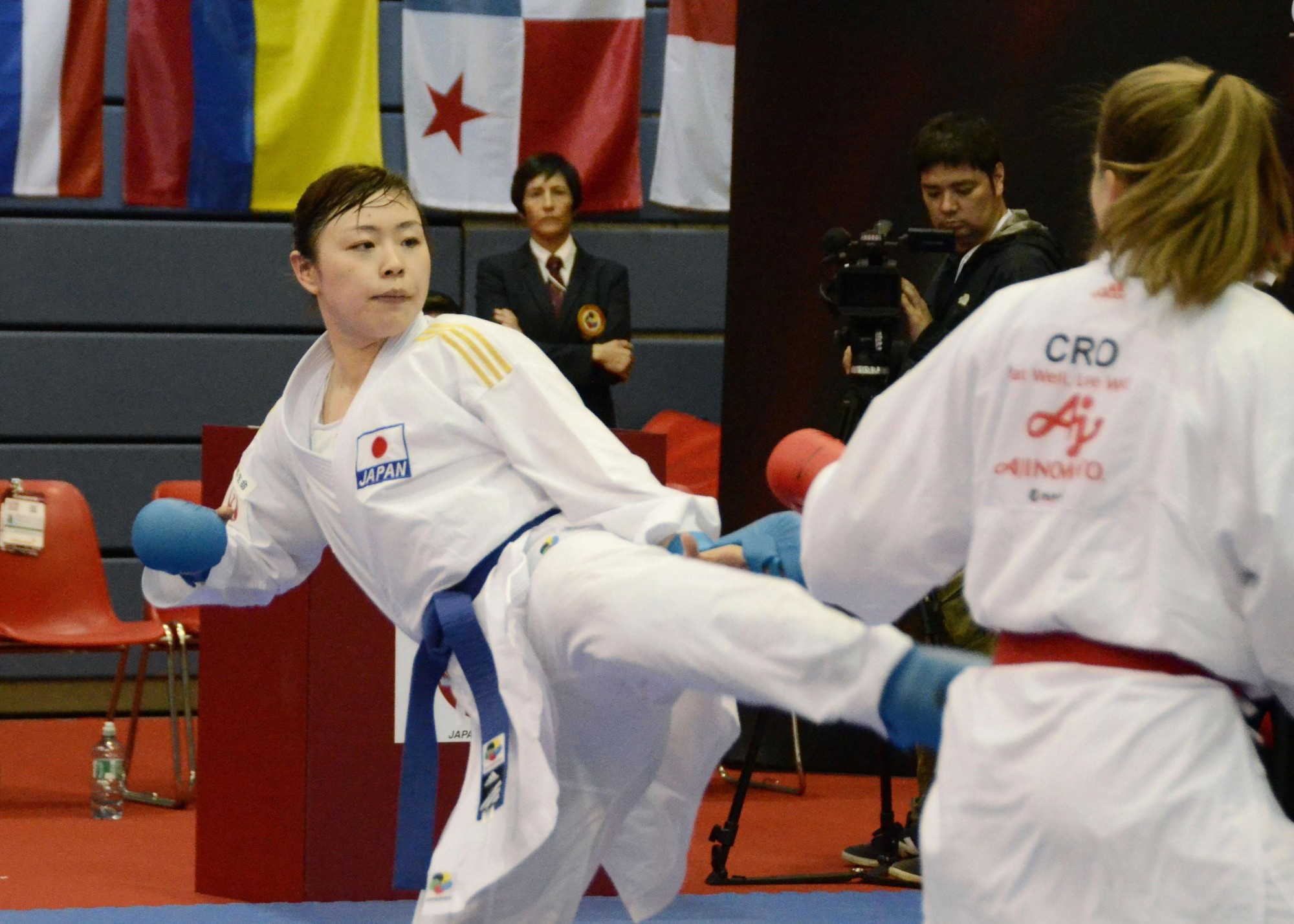 Ayumi Uekusa competes in the third round of the women's over-68-kg kumite compettition at a Karate 1-Premier League event in Salzburg, Austria. | KYODO