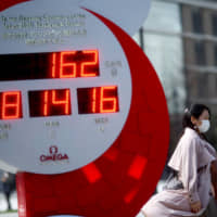 A giant watch for the 2020 Olympics counts down to the games in Tokyo on March 16. | REUTERS