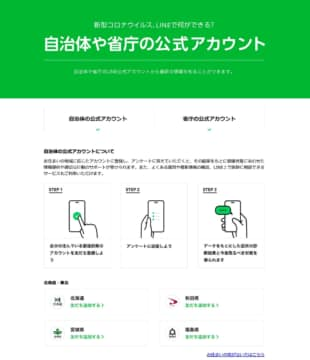 A screenshot of the process to sign up for a survey in a recent collaboration between Japan's health ministry and the LINE messaging app.