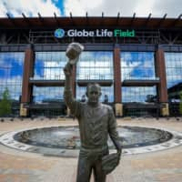 A statue of Nolan Ryan in the empty plaza outside Globe Life Field in Arlington, Texas, on Tuesday, when the Rangers had been scheduled to host the Angels in the new ballpark's first game | AP