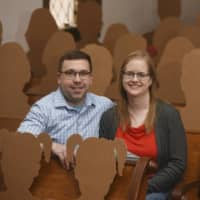 Dan Stuglik and Amy Simonson will be joined by more than 100 cardboard cutouts of family and friends when they are married this Saturday at The Old Rugged Cross Church in Pokagon, Michigan. | THE HERALD-PALLADIUM / VIA AP