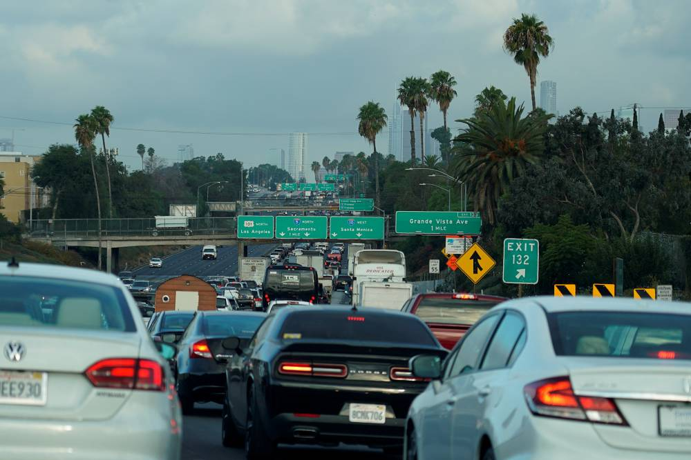 Morning traffic makes its way along a Los Angeles freeway in 2019.   REUTERS