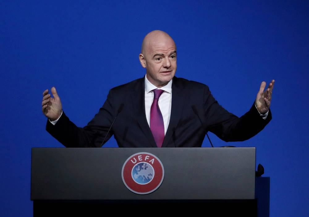 FIFA President Gianni Infantino addresses the UEFA Congress on March 3 in Amsterdam. | REUTERS