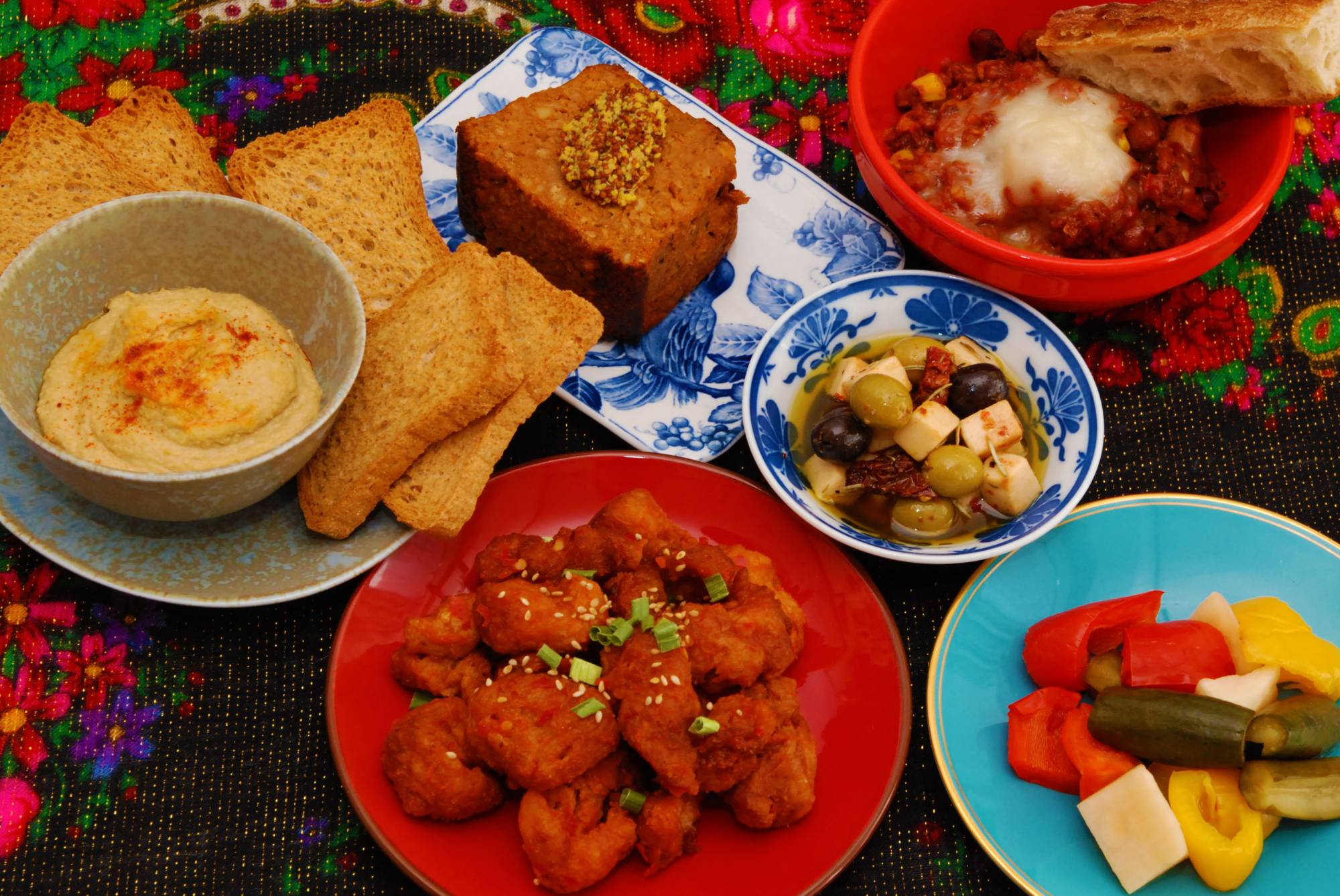Meat-free: A spread of food from Hallogallo, the first vegan bar in Tokyo. | COURTESY OF HALLOGALLO