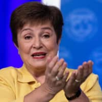 IMF Managing Director Kristalina Georgieva speaks at a news briefing in Washington on March 4. The global coronavirus pandemic is causing an economic crisis unlike any in the past century and will require a massive response to ensure recovery, Georgieva said Thursday.    AFP-JIJI