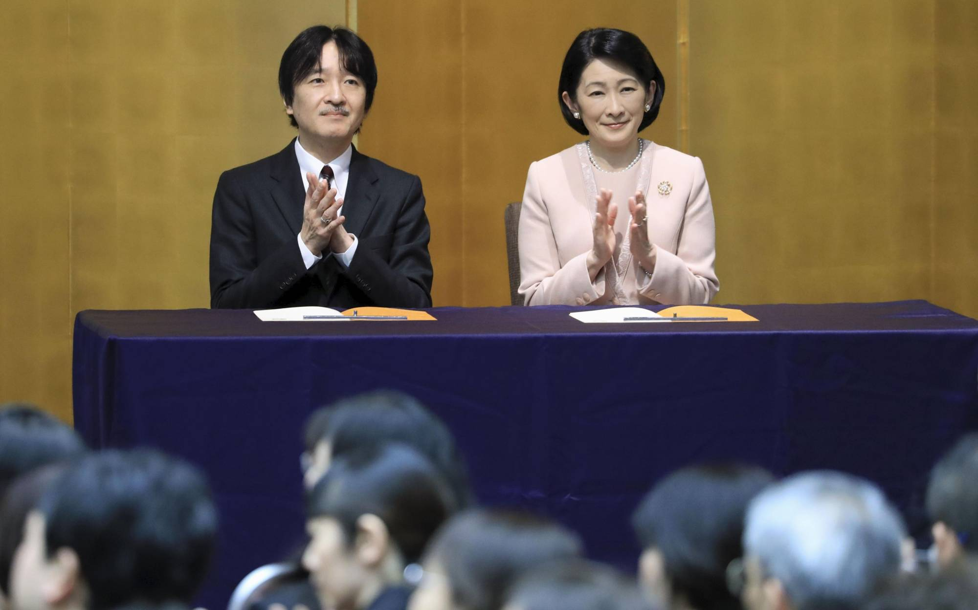 Crown Prince Akishino and Crown Princess Kiko attend the award ceremony for a book report contest for young people in Tokyo on Feb. 7.   POOL / VIA KYODO