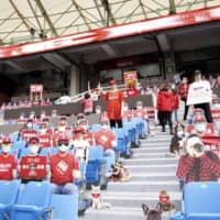 Mannequins and cardboard cutouts are seen in the stands during the Rakuten Monkeys' game on April 12 at Taoyuan Baseball Stadium in Taoyuan, Taiwan. | KYODO