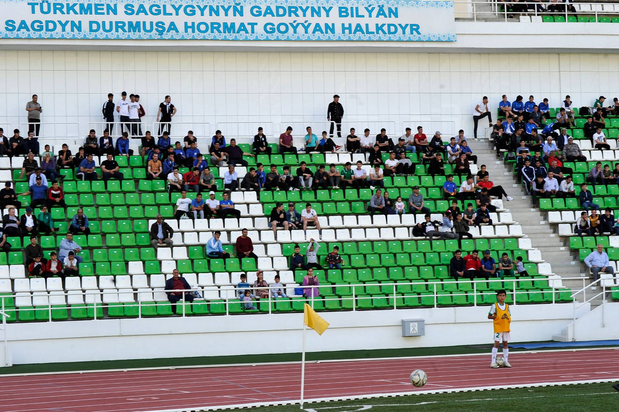 Fans attend a soccer match in Ashgabat on Sunday as Turkmenistan's domestic league resumes play. | AFP-JIJI