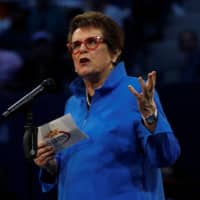 Billie Jean King speaks during the opening ceremony of the U.S. Open on August 28, 2017, in New York. | REUTERS