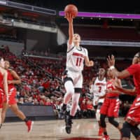 Norika Konno takes a shot during Louisville's game against Western Kentucky at KFC Yum! Center in Louisville, Kentucky, on Nov. 5. | UOFL ATHLETICS