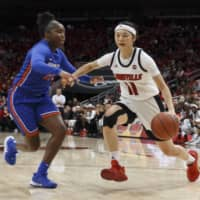 Norika Konno drives during the Cardinals' game against the Lady Toppers on Nov. 5, 2019. | UOFL ATHLETICS