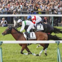 Roger Barows (left), being ridden by jockey Suguru Hamanaka, runs to victory in the Japanese Derby on May 26, 2019, in Tokyo | KYODO