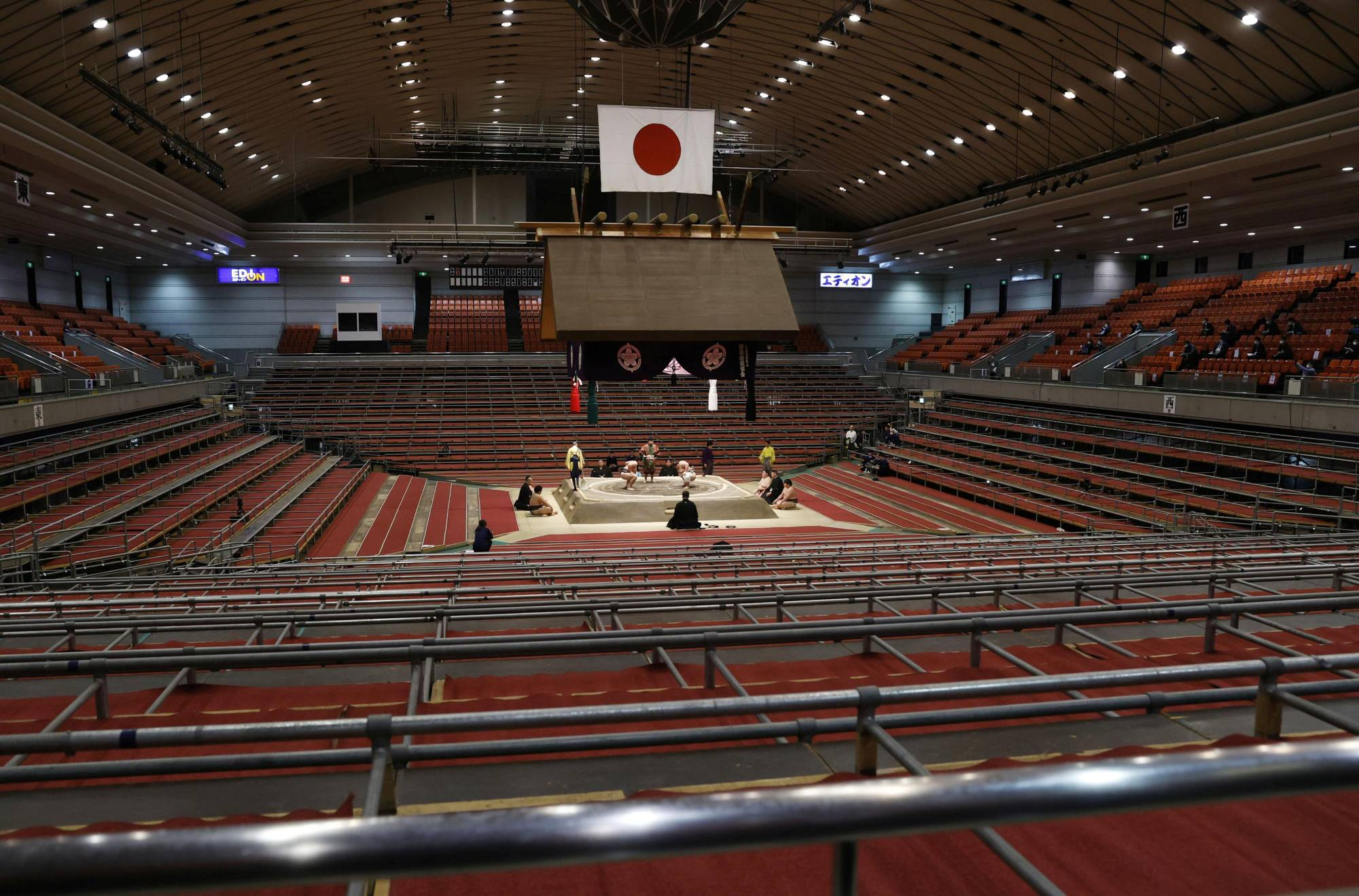 The Spring Grand Sumo Tournament took place without fans at Edion Arena Osaka in March. | REUTERS