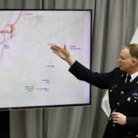 ROYAL CANADIAN MOUNTED POLICE SUPT. DARREN CAMPBELL DISCUSSES THE TIMELINE OF EVENTS AND LOCATIONS OF THE NOVA SCOTIA SHOOTINGS AT RCMP HEADQUARTERS IN DARTMOUTH, NOVA SCOTIA, FRIDAY, APRIL 24, 2020. (RILEY SMITH/THE CANADIAN PRESS VIA AP)