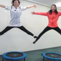 Two-time Olympian Haruka Hirota (left) appears in an online video offering tips on how to do trampoline exercises at home. | HARUKA HIROTA / VIA KYODO