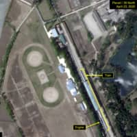 What is described by Washington-based North Korea monitoring project 38 North as a special train possibly belonging to North Korean leader Kim Jong Un is seen in a satellite image taken over the resort city of Wonsan on Thursday.  | PLANET LABS / 38 NORTH / VIA REUTERS
