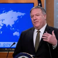U.S. Secretary of State Mike Pompeo speaks at a news briefing at the State Department in Washington on April 22.  | REUTERS