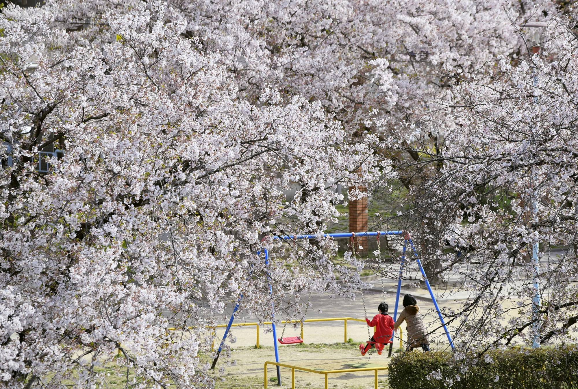 A boy and his mother play in a park in Osaka on April 11.   KYODO