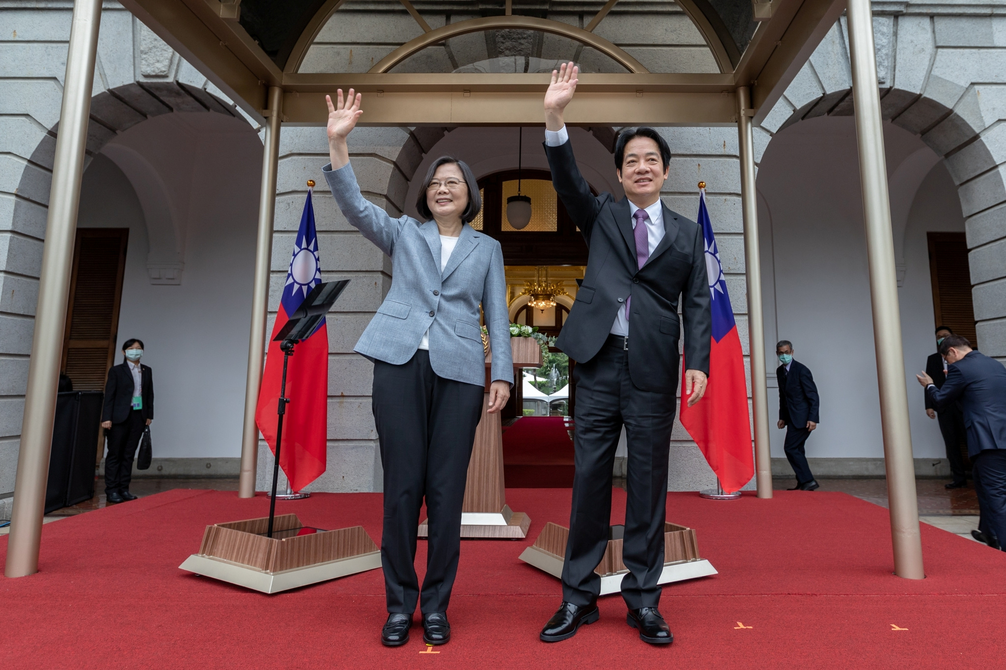 Taiwan President Tsai Ing-wen attends with Vice President William Lai Ching-te her inaugural address at the Taipei Guest House in Taipei on May 20. | HANDOUT / VIA REUTERS