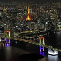 The Rainbow Bridge in Tokyo's Minato Ward is illuminated in seven colors to coincide with the complete rescinding of the nationwide state of emergency on Monday evening. | KYODO