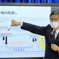 Shigeru Omi, member of the Japanese government's expert panel on measures to fight the new coronavirus, speaks about future prospects during a news  confernece in Tokyo on Friday. | AFP-JIJI