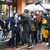 The Tokyo Metropolitan Government asks a pachinko parlor to close on April 28 to cooperate with the state of emergency declared for the coronavirus pandemic. | KYODO