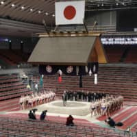 The Spring Grand Sumo Tournament was held without fans at Edion Arena Osaka in March because of the coronavirus pandemic. The Summer Basho, scheduled to start May 24 at Ryogoku Kokugikan, is likely to be called off due to the virus. | KYODO