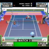 Kei Nishikori (bottom left) and DJ Steve Aoki (bottom right) take on Naomi Osaka (top left) and model Hailey Bieber in Mario Tennis Aces during a virtual tennis tournament for charity on Sunday. | KYODO