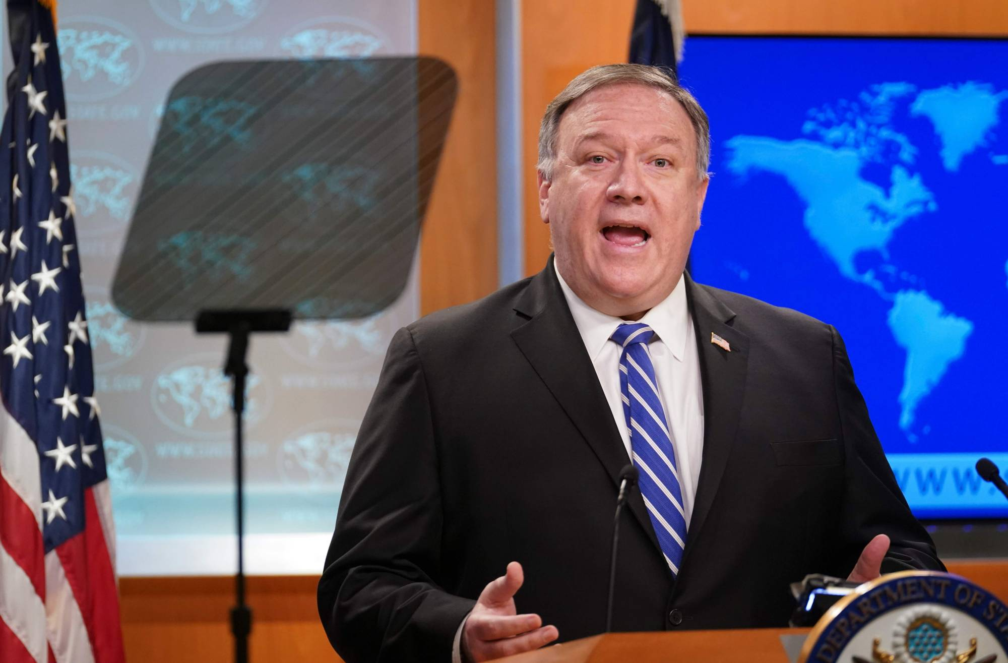 U.S. Secretary of State Mike Pompeo speaks to reporters during a media briefing at the State Department in Washington on Wednesday. | POOL / VIA AFP-JIJI