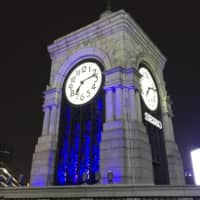The clock tower of Ginza's Wako Building is illuminated and features a special chime to recognize efforts made by front-line workers dealing with the COVID-19 crisis. | INOCHI NO KANE (THE BELL OF LIFE) ACTION