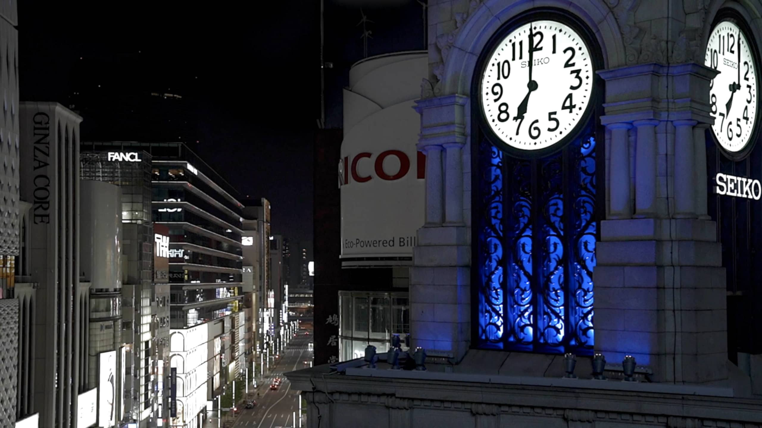 The clock tower of Ginza's Wako Building is illuminated and features a special chime to recognize efforts made by front-line workers dealing with the COVID-19 crisis.