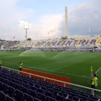 The pitch is watered prior to a match between Fiorentina and Napoli in Florence, Italy, on Aug. 24, 2019. | REUTERS