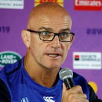 England defensive coach John Mitchell speaks during a news conference ahead of their Rugby World Cup match against Tonga in Sapporo on Sept. 19. | REUTERS